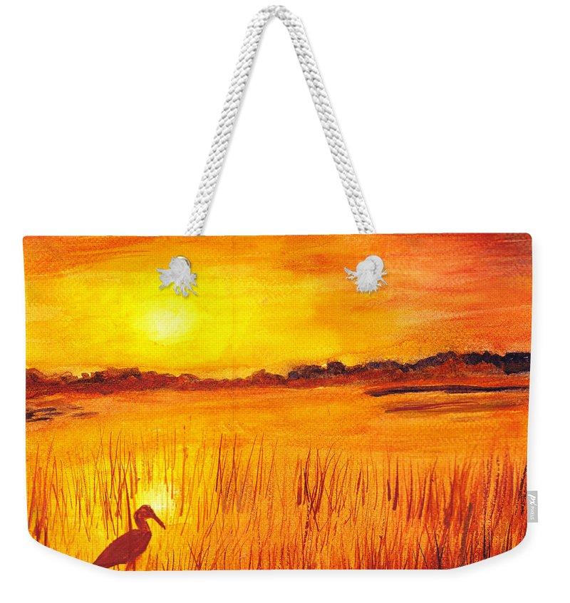 Loxahatchee Sunrise Weekender Tote Bag featuring the painting Loxahatchee Sunrise by Donna Walsh