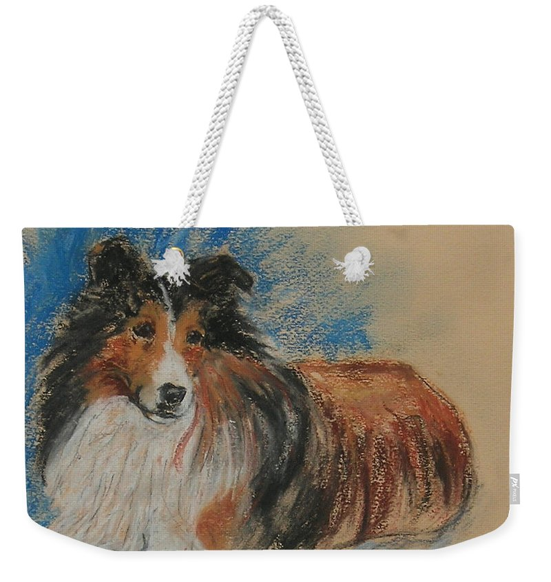 Sheltie Weekender Tote Bag featuring the drawing Loyal Companion by Cori Solomon