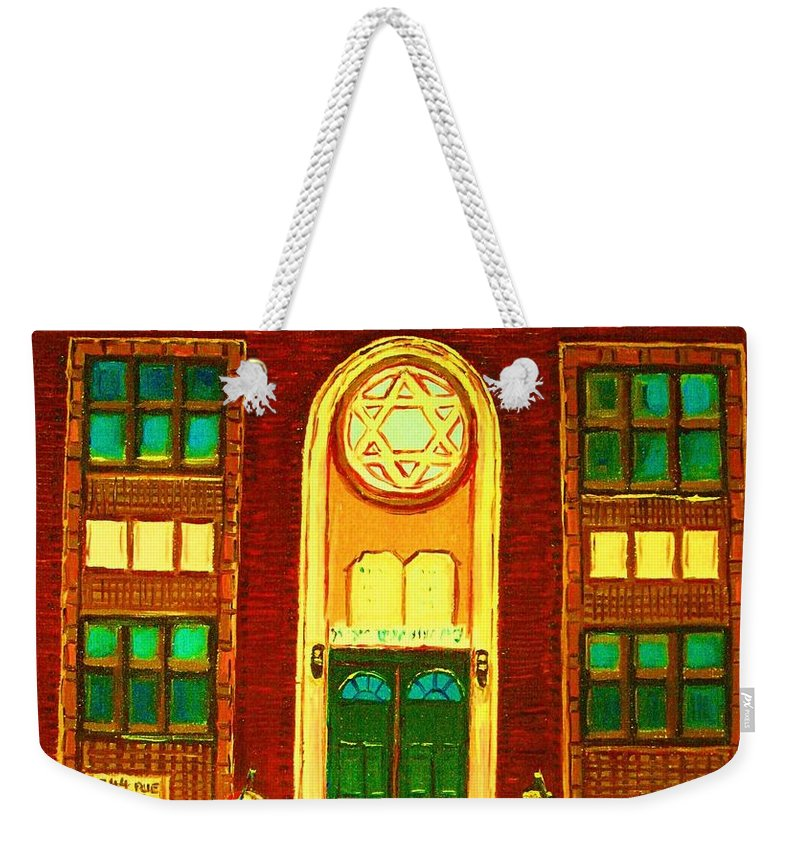 Judaica Weekender Tote Bag featuring the painting Lubavitch Synagogue by Carole Spandau