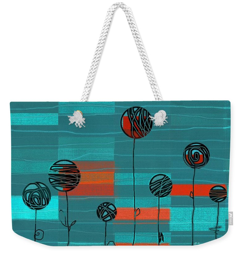 Blue Weekender Tote Bag featuring the digital art Lubi - S02-222b by Variance Collections