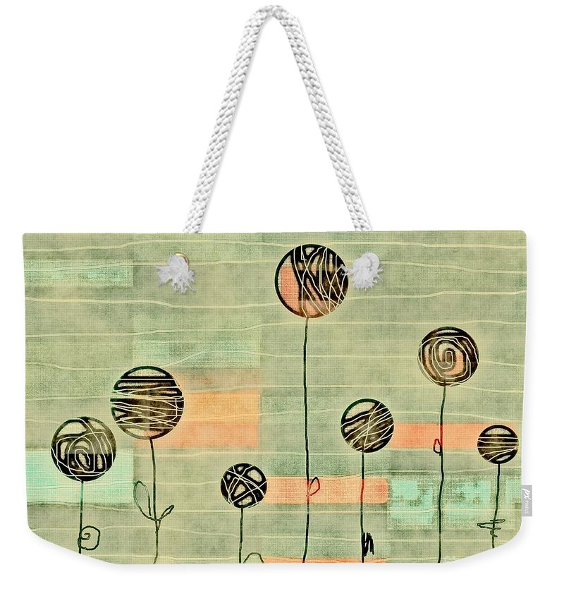 Green Weekender Tote Bag featuring the digital art Lubi - S02-34ab by Variance Collections