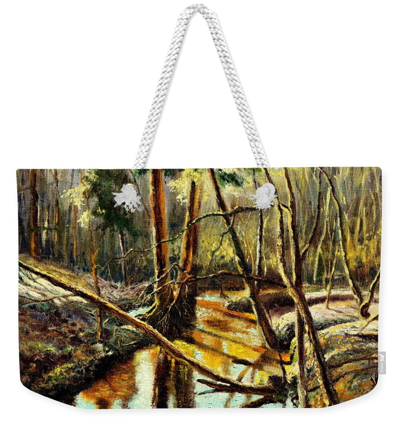 Henryk Weekender Tote Bag featuring the painting Lubianka-1- River by Henryk Gorecki