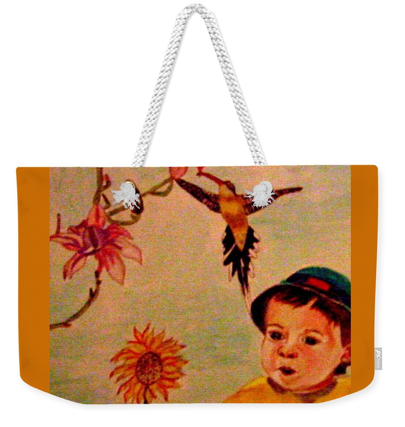 France Weekender Tote Bag featuring the painting Lucas Le Petit Tournesol by Rusty Gladdish