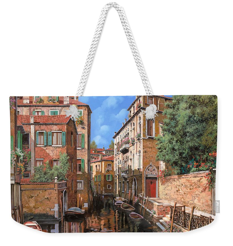 Venice Weekender Tote Bag featuring the painting Luci A Venezia by Guido Borelli