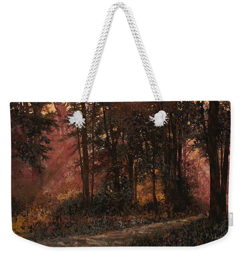 Wood Weekender Tote Bag featuring the painting Luci Nel Bosco by Guido Borelli