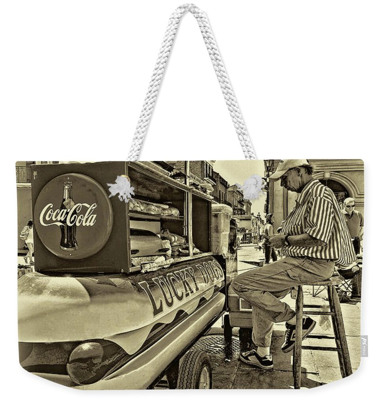 French Quarter Weekender Tote Bag featuring the photograph Lucky Dogs And Coke 2 by Steve Harrington