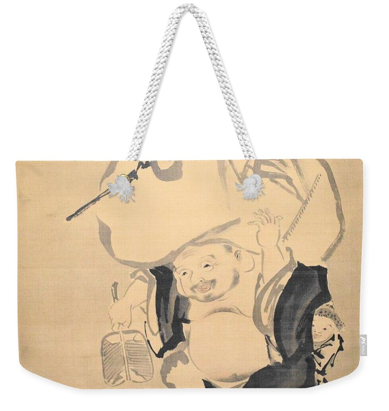 Love Weekender Tote Bag featuring the drawing Lucky Gods HOTEI by Keisuke Ueda
