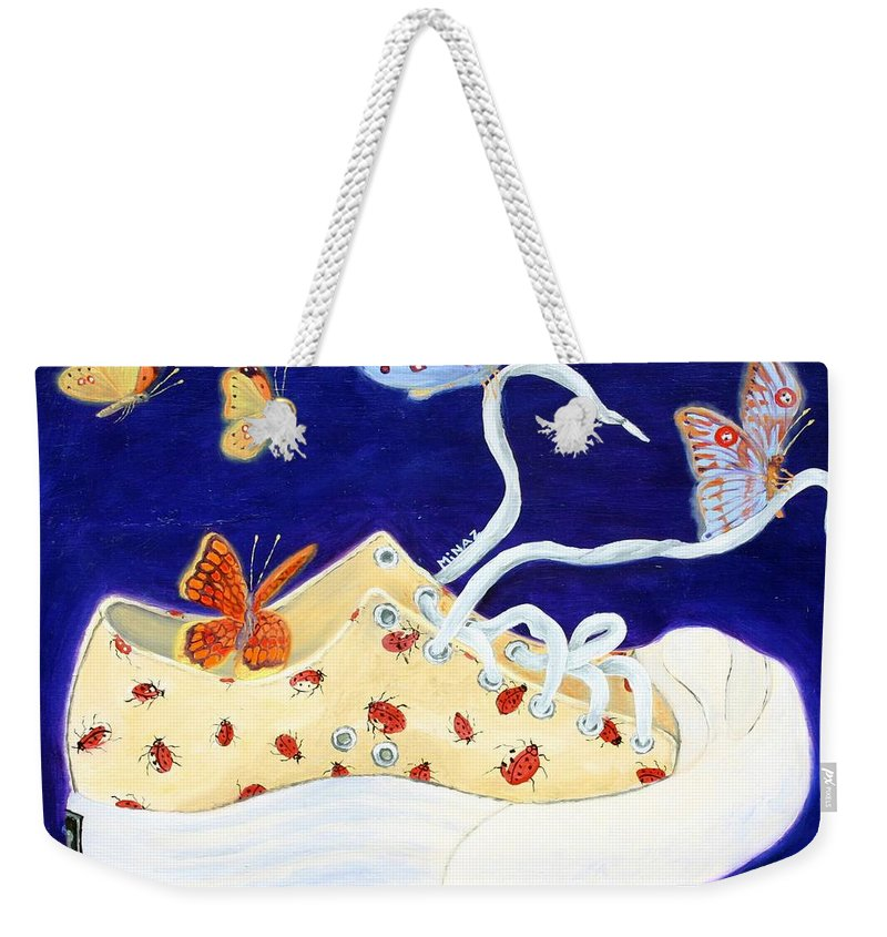 Running Shoes Weekender Tote Bag featuring the painting Lucky Lady Bug Shoe by Minaz Jantz