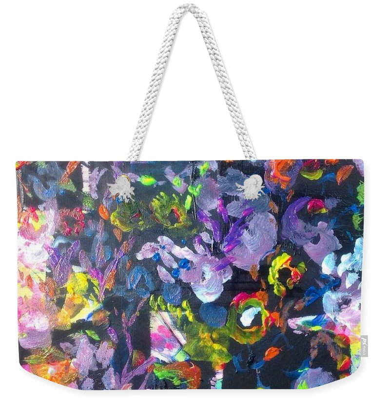 Shade Weekender Tote Bag featuring the painting Lucky Nightshade by Judith Desrosiers