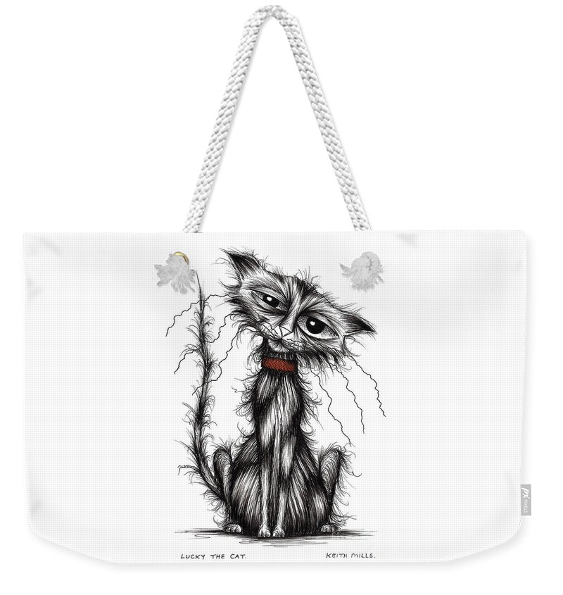 Sad Cats Weekender Tote Bag featuring the drawing Lucky The Cat by Keith Mills