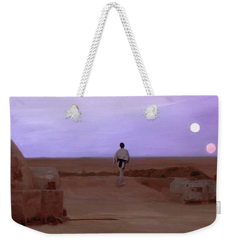 Tatooine Weekender Tote Bag featuring the mixed media Luke Skywalker Tatooine Sunset by Mitch Boyce