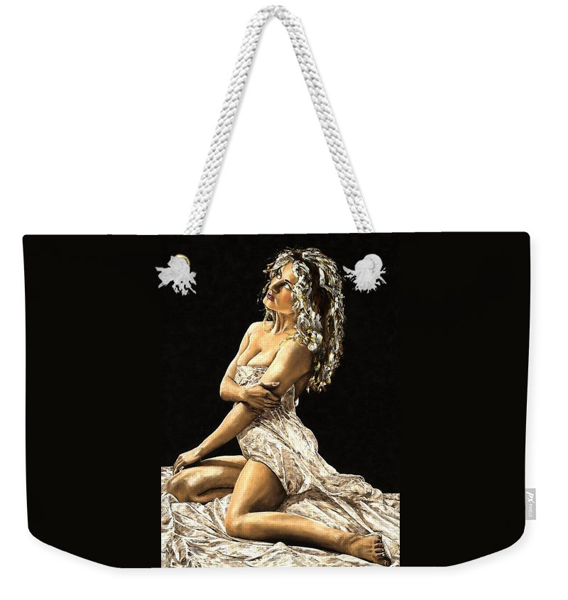 Nude Weekender Tote Bag featuring the painting Luminous by Richard Young
