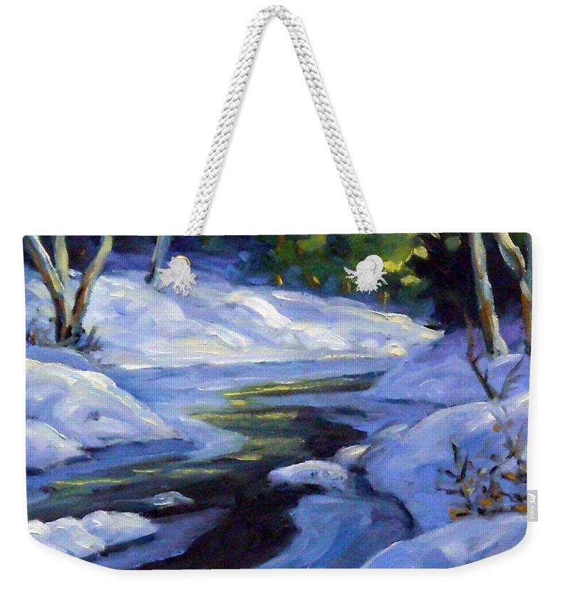 Art Weekender Tote Bag featuring the painting Luminous Snow by Richard T Pranke