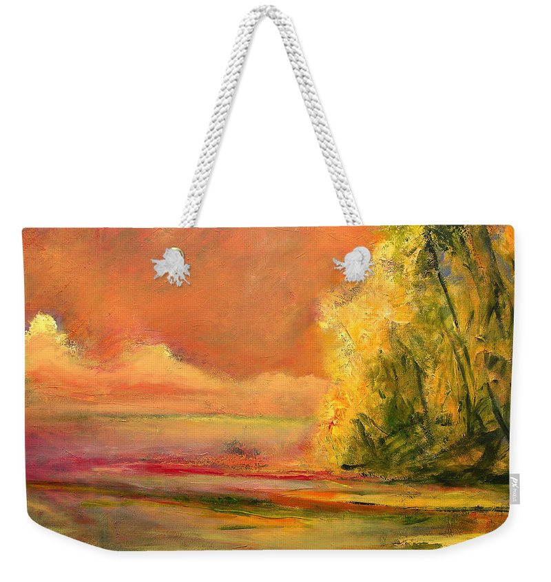 Large Canvas Reproductions Weekender Tote Bag featuring the painting Luminous Sunset 2-16-06 Julianne Felton by Julianne Felton