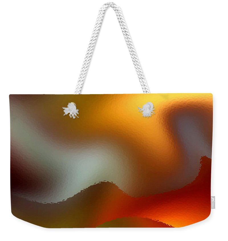 Abstract Weekender Tote Bag featuring the digital art Luminous Waves by Ruth Palmer
