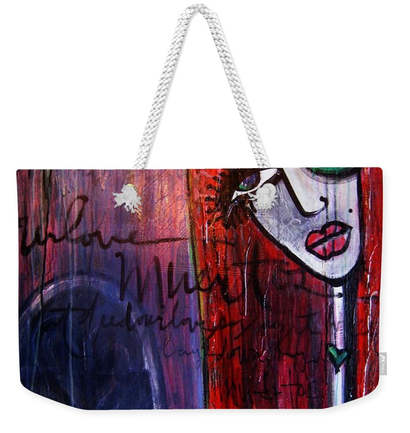 Luna Weekender Tote Bag featuring the painting Luna Our Love Muertos by Laurie Maves ART