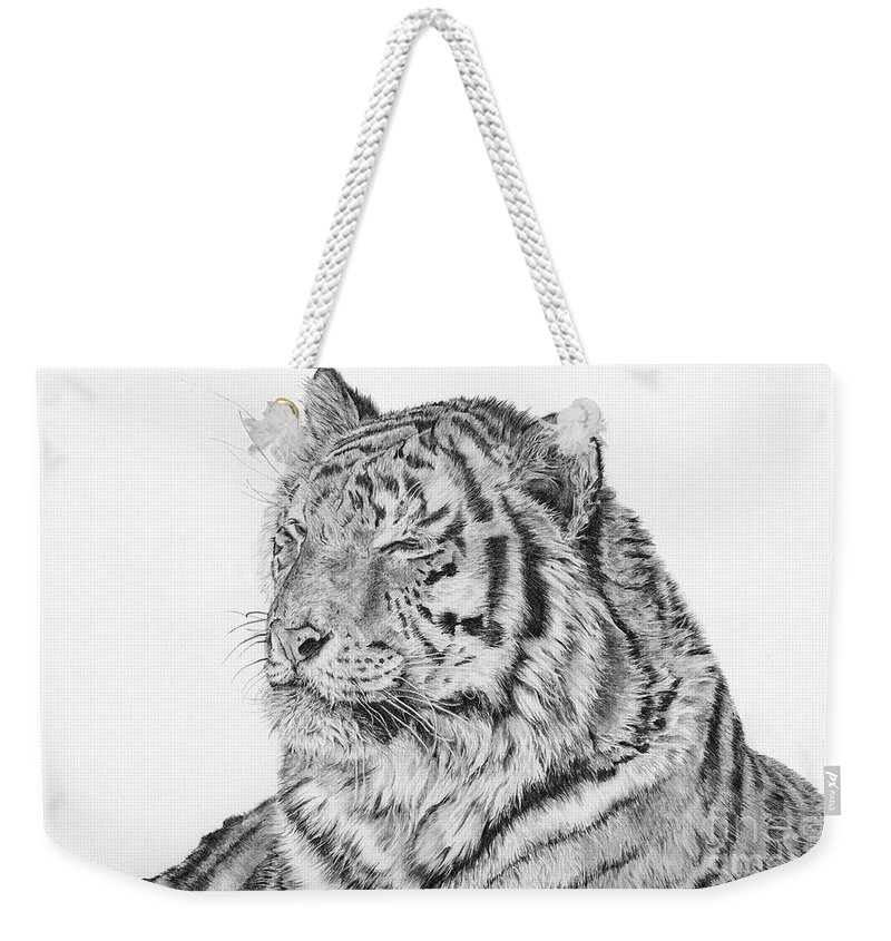 Siberian Tiger Weekender Tote Bag featuring the drawing Luna by Shevin Childers