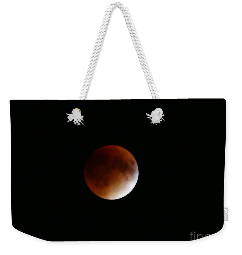 Photography Weekender Tote Bag featuring the photograph Lunar Eclipse Sept 27,2015 by Aline Halle-Gilbert