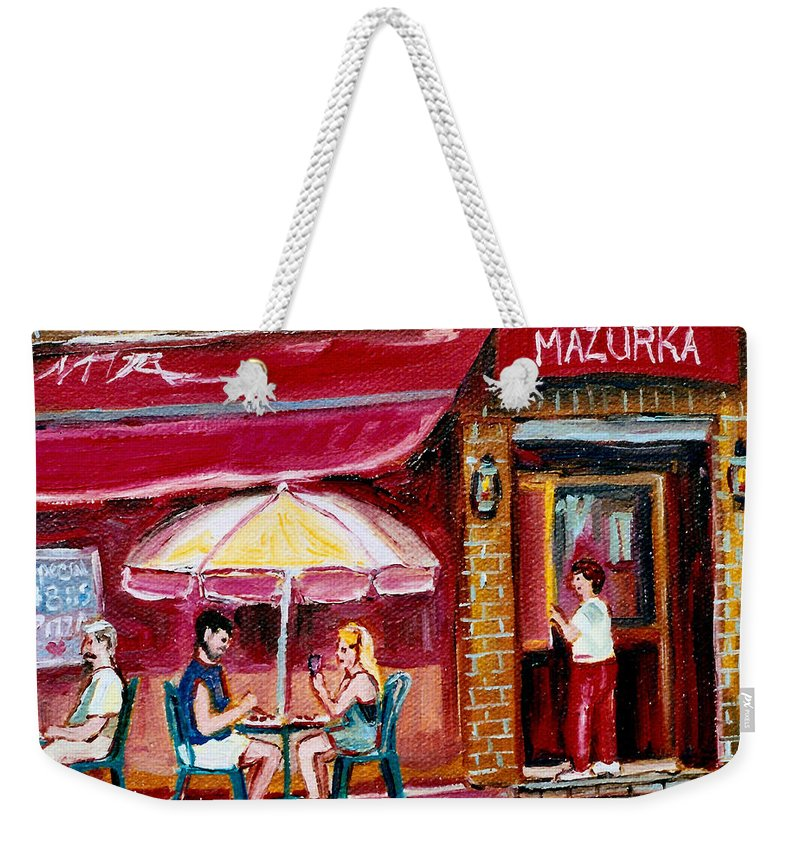 Mazurka Restaurant Weekender Tote Bag featuring the painting Lunch At The Mazurka by Carole Spandau