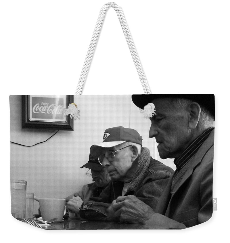 Diner Weekender Tote Bag featuring the photograph Lunch Counter Boys - Black And White by Tim Nyberg