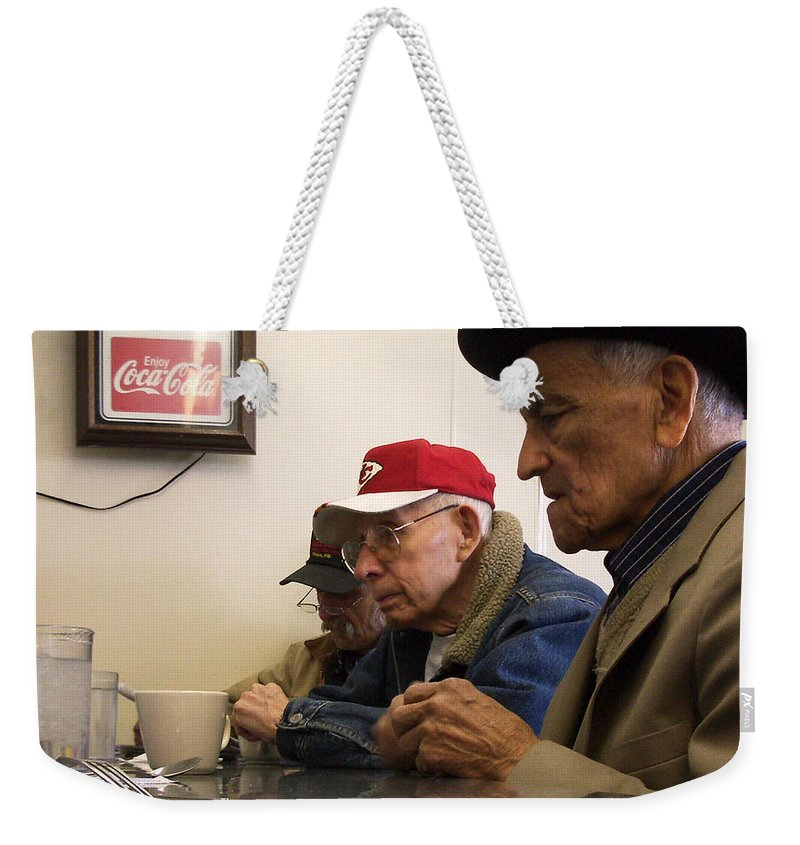 Diner Weekender Tote Bag featuring the photograph Lunch Counter Boys by Tim Nyberg