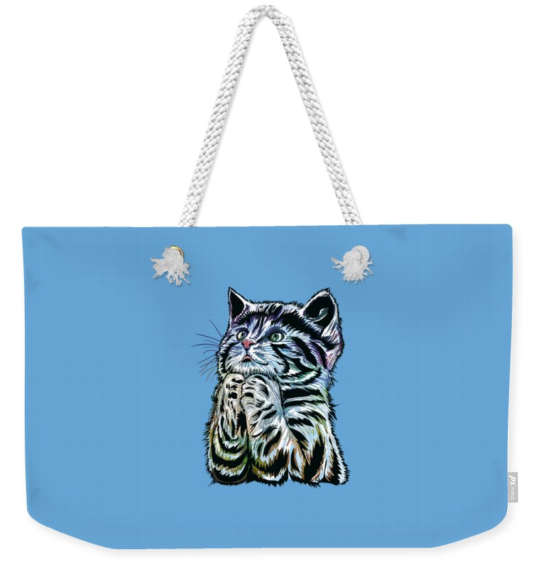 Kitten Weekender Tote Bag featuring the painting Lunch Time. by Andrzej Szczerski