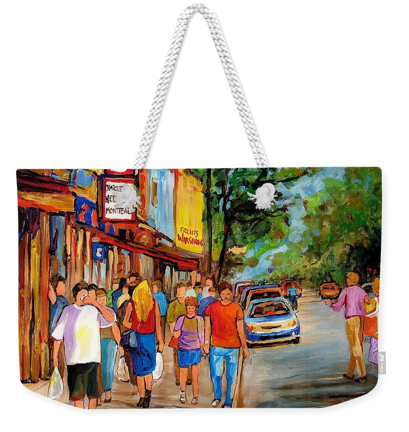 Montreal Streetscenes Weekender Tote Bag featuring the painting Lunchtime On Mainstreet by Carole Spandau