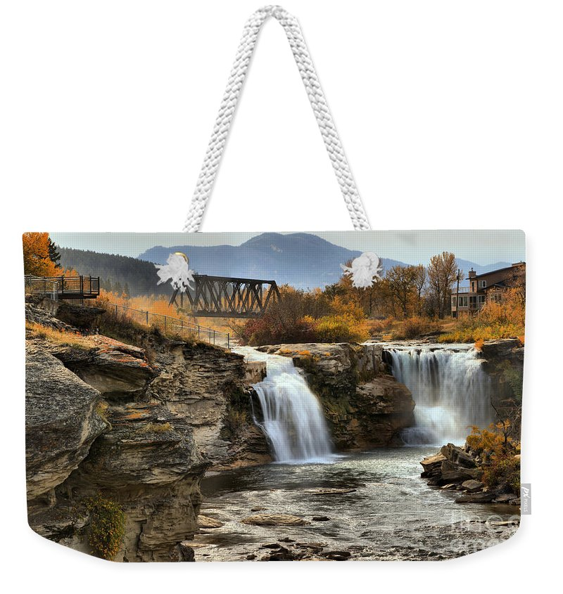 Lundbreck Falls Weekender Tote Bag featuring the photograph Lundbreck Falls Provincial Park by Adam Jewell