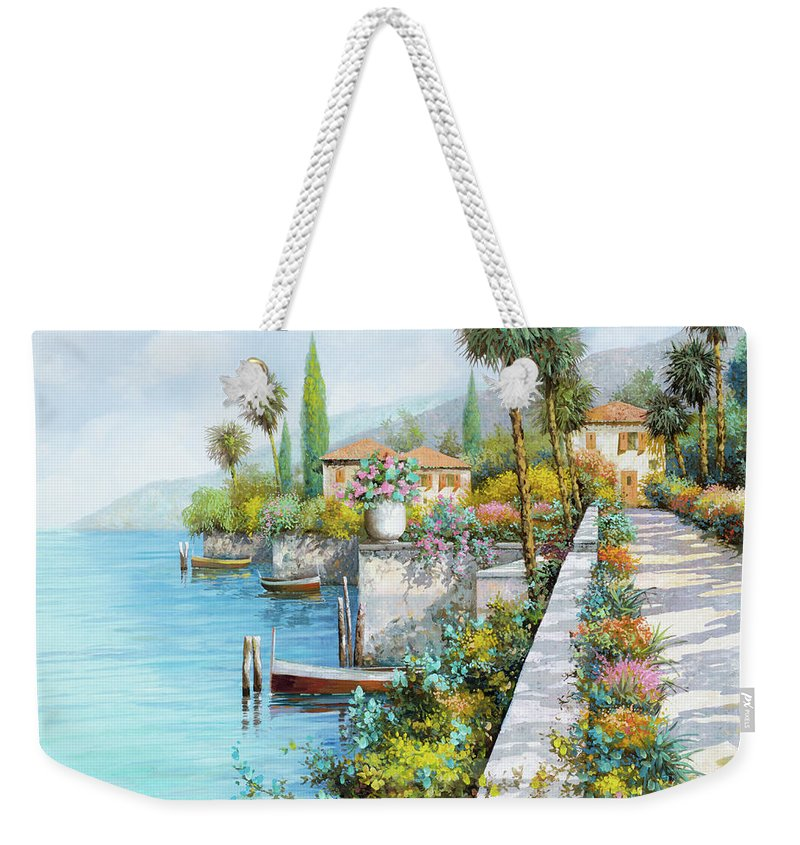 Lake Weekender Tote Bag featuring the painting Lungolago by Guido Borelli