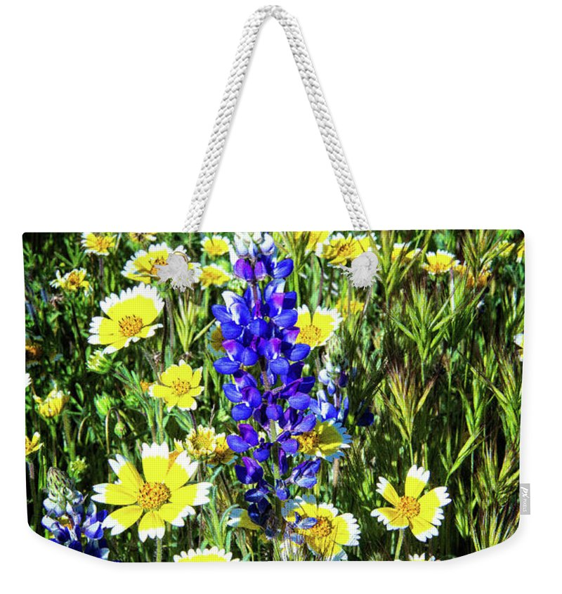 Lupine Weekender Tote Bag featuring the photograph Lupine Amidst Tidy Tips by Lynn Bauer