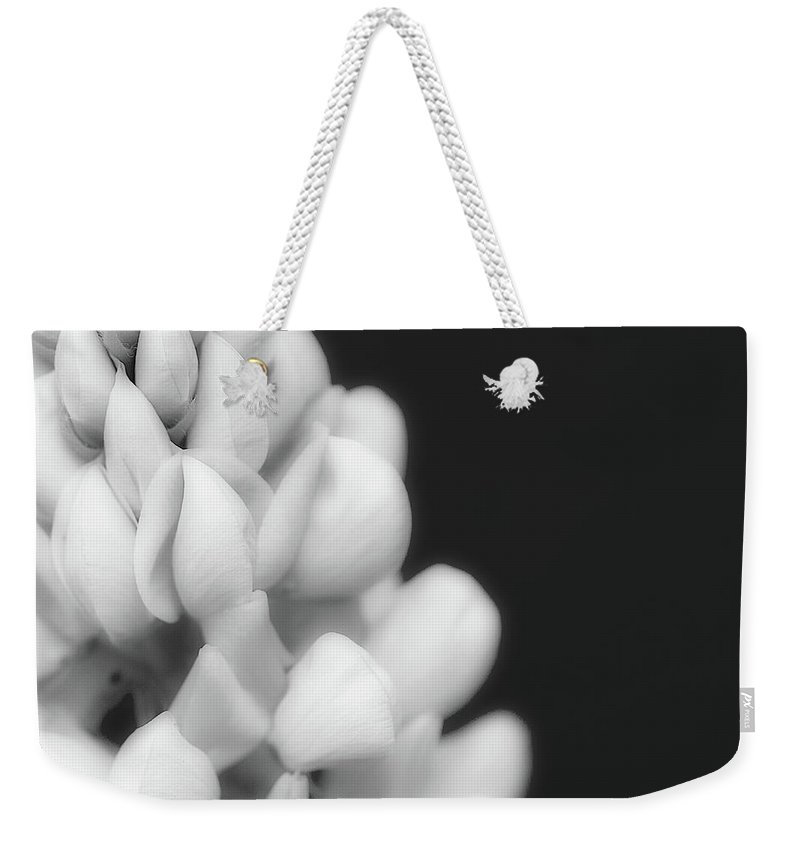 Black And White Weekender Tote Bag featuring the photograph Lupine In Black And White by Lisa Knechtel