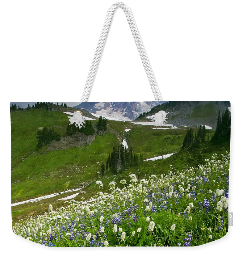 Rainier Weekender Tote Bag featuring the photograph Lupine Storm by Mike Dawson