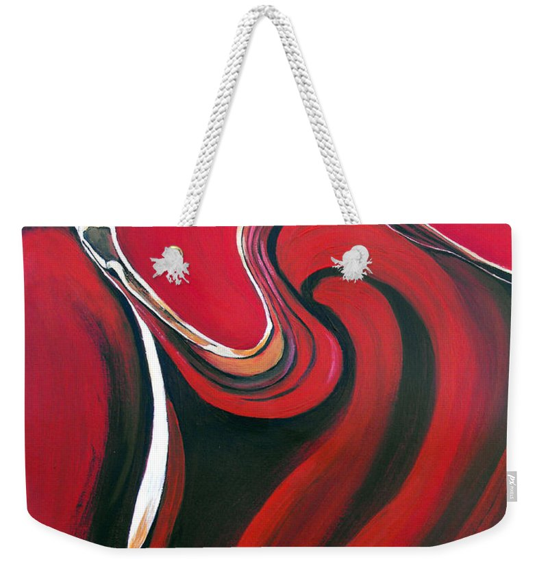 Abstract Weekender Tote Bag featuring the painting Luscious Red by Ruth Palmer
