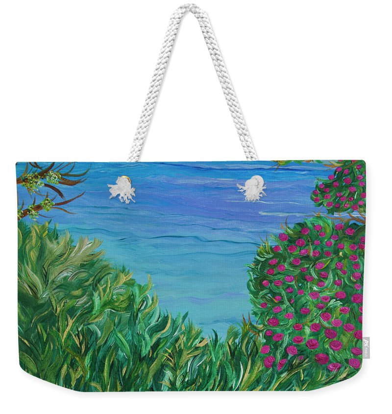 Beach Scene Weekender Tote Bag featuring the painting Lush Brush by Sara Credito