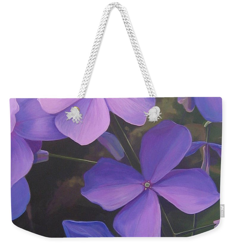 Closeup Of Colorado Wildflower Near Durango Weekender Tote Bag featuring the painting Lush Life by Hunter Jay