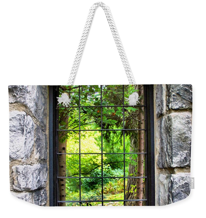 Stone Weekender Tote Bag featuring the photograph Lushness Beyond The Walls by Kristin Elmquist