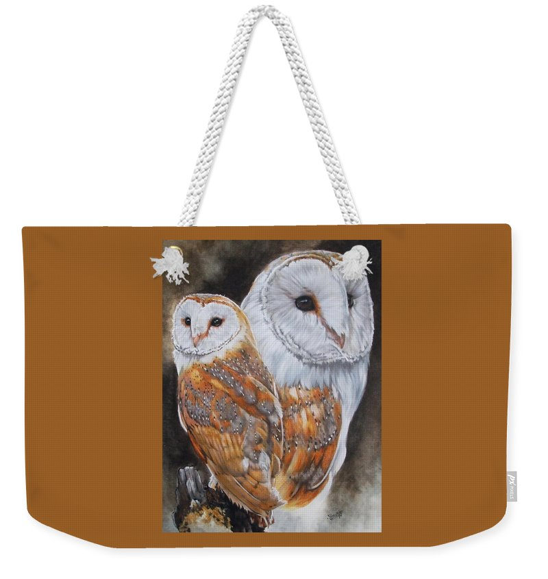 Bird Weekender Tote Bag featuring the mixed media Luster by Barbara Keith