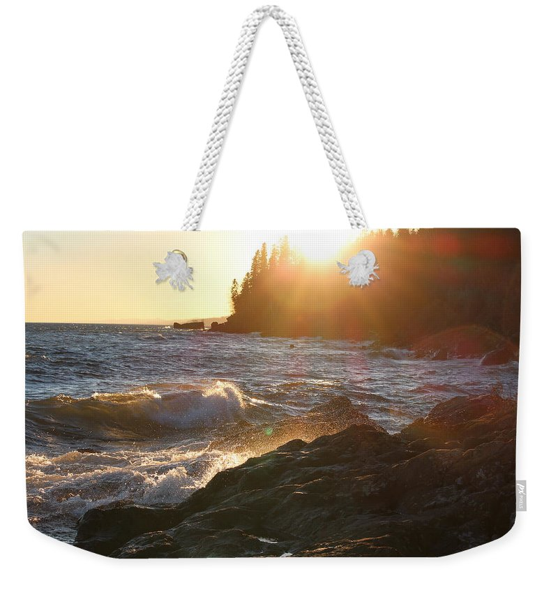 North Weekender Tote Bag featuring the photograph Lutsen Shore by Nicholas Miller