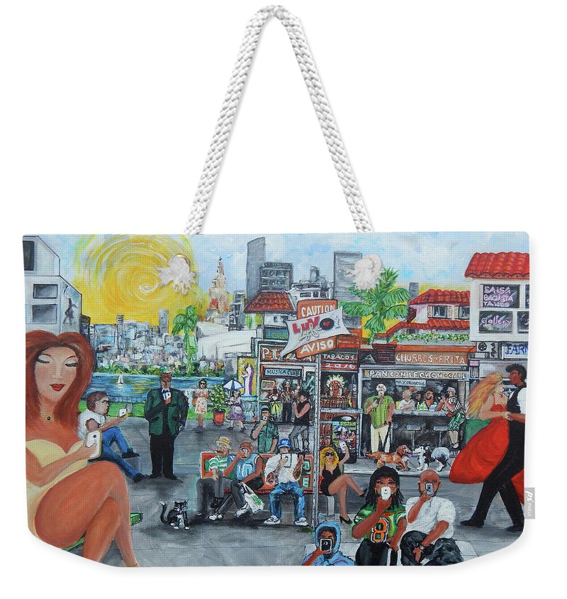 Little Havana Weekender Tote Bag featuring the painting Luvlyfe.xyz - Love Life- Ama La Vida by Jorge Delara
