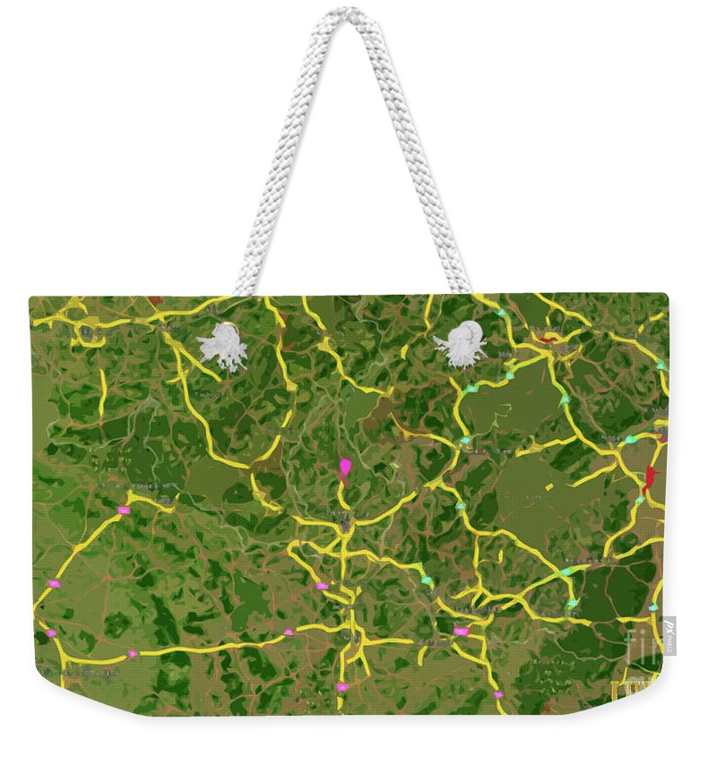 Madrid Weekender Tote Bag featuring the digital art Luxembourg Green Traffic Map, Abstract Europe Map by Drawspots Illustrations