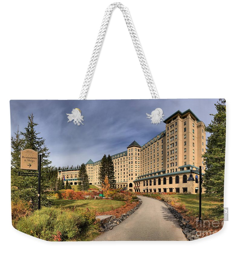 Chateau Lake Louise Weekender Tote Bag featuring the photograph Luxurious Chateau Lake Louise by Adam Jewell