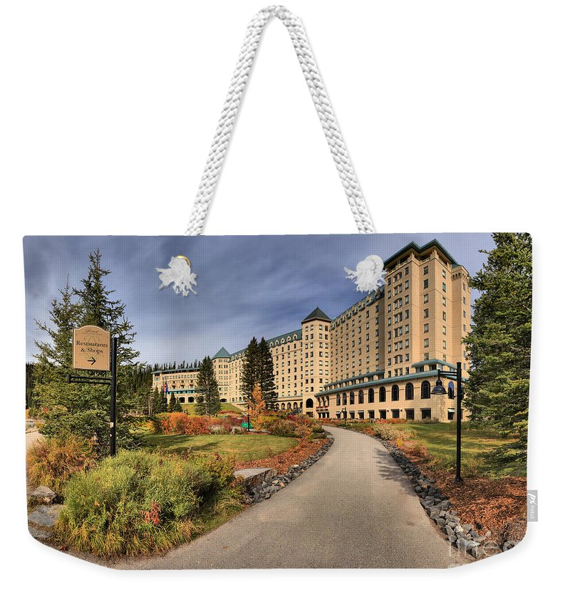 Chateau Lake Louise Weekender Tote Bag featuring the photograph Luxury Chateau Lake Louise by Adam Jewell