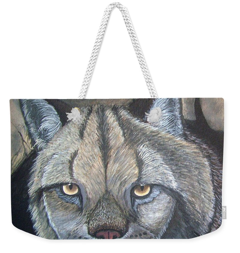Lynx Weekender Tote Bag featuring the painting Lynx by Nick Gustafson