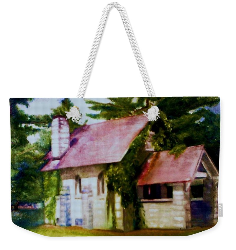 Church Weekender Tote Bag featuring the painting Lyons Falls Church by Sheila Mashaw