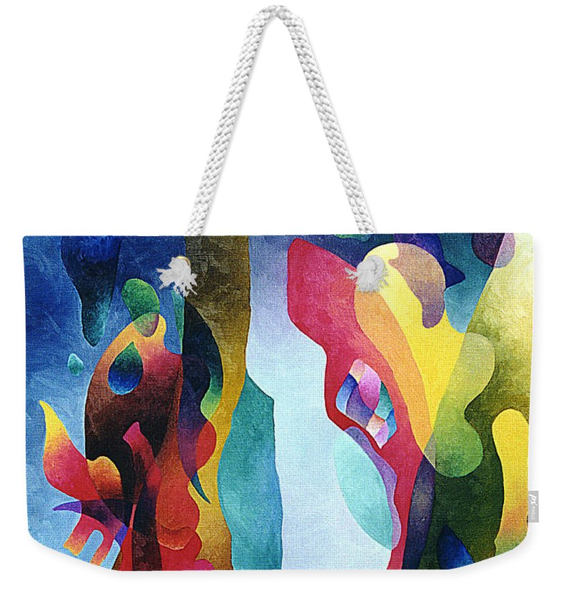 Abstract Weekender Tote Bag featuring the painting Lyrical Grouping by Sally Trace