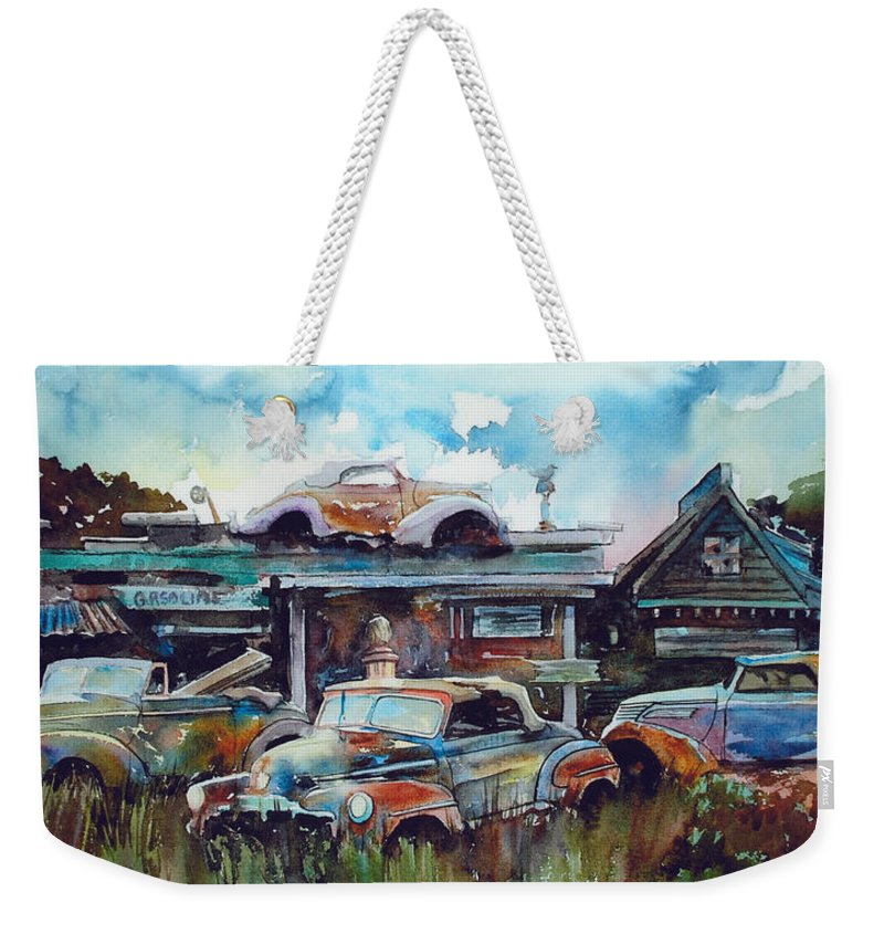 Fords Weekender Tote Bag featuring the painting Lytton Station by Ron Morrison