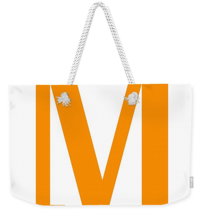 M Weekender Tote Bag featuring the digital art M In Tangerine Typewriter Style by Custom Home Fashions