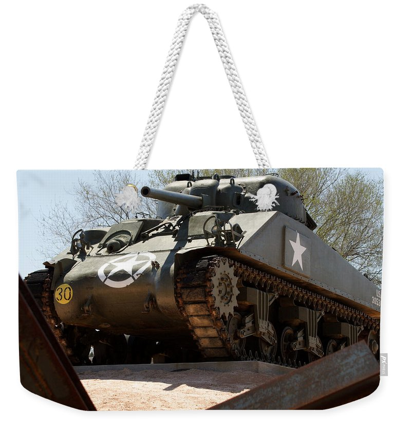 Army Weekender Tote Bag featuring the photograph M4 Sherman Tank by Jean Macaluso