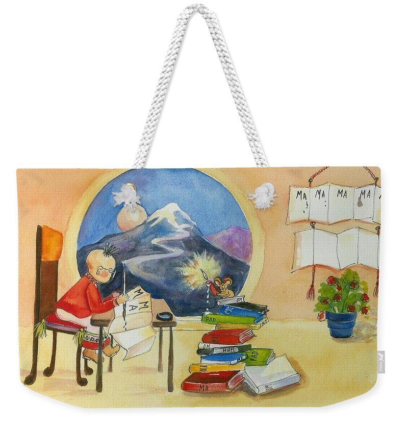 Series Of 6 True Words Weekender Tote Bag featuring the mixed media MA by Caroline Patrick