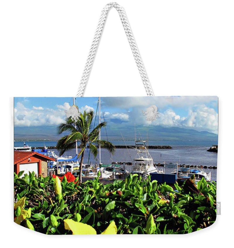 Boat Weekender Tote Bag featuring the digital art Maalaea Boat Harbor by Joan Minchak